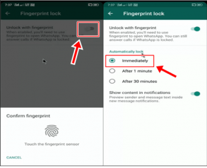 WhatsApp Mein Fingerprint lock